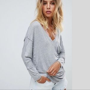 Free People We The Free Golden Gate Tee Gray L